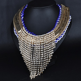 Ericdress Shining Rhinestones Tassels Necklace