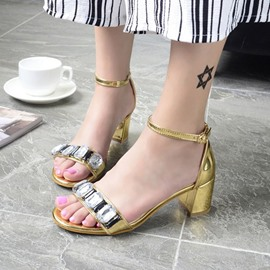 Ericdress Rhinestone Open Toe Chunky Sandals