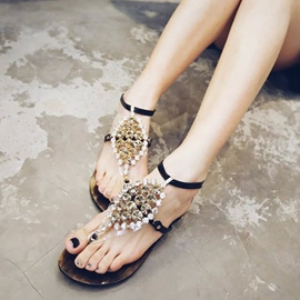 Ericdress New Bohemian Rhinestone Thong Flat Sandals