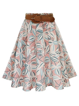 Ericdress Print Belt Usual Skirt