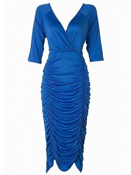 Ericdress Solid Color Pleated Sheath Dress