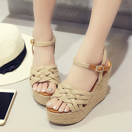 Ericdress Kintting Peep Toe Wedge Sandals