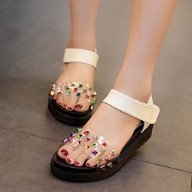 Ericdress Transparent Patchwork Rivets Wedge Sandals