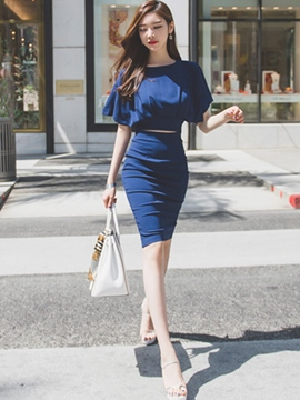 Ericdress Solid Color Cutout Sheath Dress