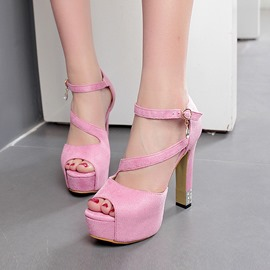 Ericdress Suede Peep Toe Chunky Sandals