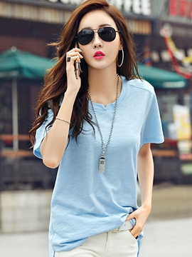Ericdress Loose Short-Sleeve Solid Color T-Shirt