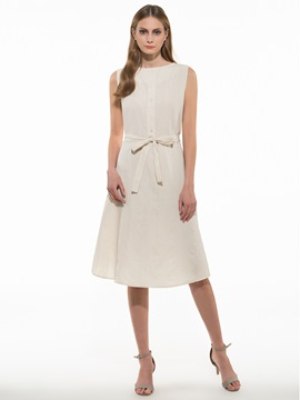 Ericdress Plain Lace-Up Sleeveless Casual Dress