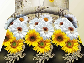 Ericdress Yellow White Sunflower Print 3D Bedding Sets
