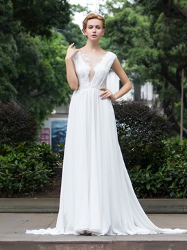 Ericdress Beautiful Appliques Illusion Back A Line Wedding Dress