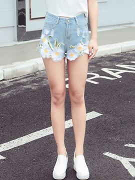 Ericdress Flower Embroidery Shorts
