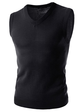 Ericdress Sleeveless V-Neck Men's Knit Vest