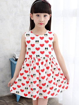 Ericdress Print Lace-Up Girls Dress