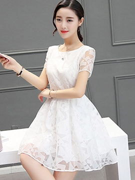 Ericdress Organza Solid Color Casual Dress
