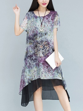 Ericdress Floral Print See-Through Asymmetrical Patchwork Casual Dress