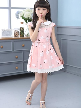 Ericdress Print Short Sleeve Girls Dress