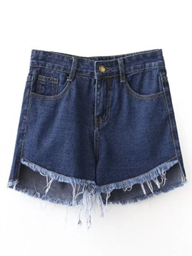Ericdress Solid Color Rough Edge Denim Shorts