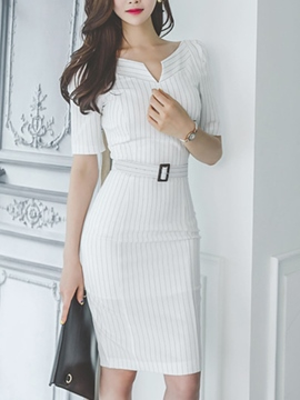 Ericdress Stripe Short Sleeve Belt Sheath Dress