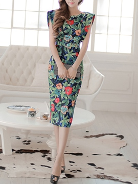 Ericdress Flower Print Vintage Sheath Dress