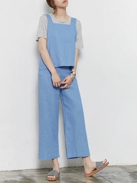 Ericdress Simple Solid Color Two-Piece Suit