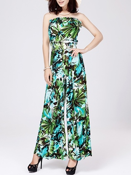 Ericdress Print Strapless Jumpsuits Pants