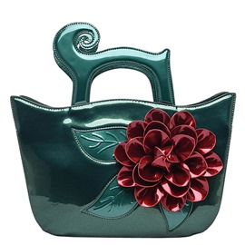 Ericdress Vintage Floral Patent Leather Handbag