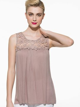 Ericdress Solid Color Pleated Lace Blouse
