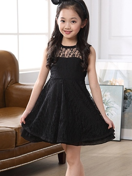 Ericdress Solid Color Sleeveless Lace Girls Dress