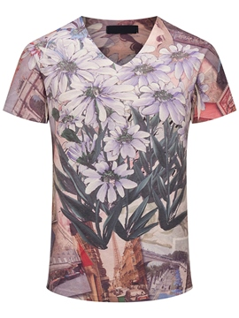 Ericdress 3D Flower Print Casual Men's T-Shirt