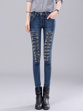 Ericdress Slim Ripped Jeans