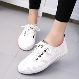 Ericdress Delicate White Round Toe Lace up Flats
