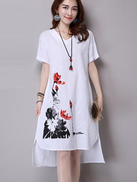 Ericdress Ethic Loose Short Sleeve Casual Dress
