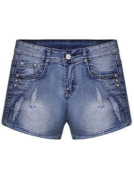 Ericdress Simple Denim Shorts
