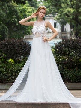 Ericdress Charming Illusion Neck A Line Wedding Dress