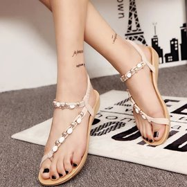 Ericdress Toe Ring Elastic Band Flat Sandals