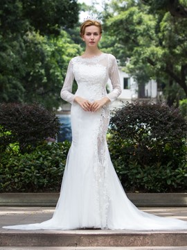 Ericdress Sexy Sheath Long Sleeves Lace Wedding Dress