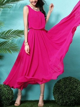 Ericdress Solid Color Double-Layer Expansion Maxi Dress