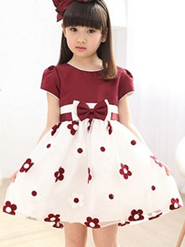 Ericdress Short Sleeve Floral Girls Dress