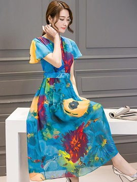 Ericdress Short Sleeve Expansion Print Maxi Dress