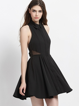 Ericdress Solid Color Cutout Sleeveless Little Black Dress
