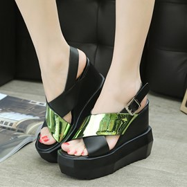 Ericdress PU Contrast Color Peep Toe Wedge Sandals