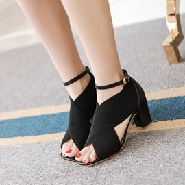 Ericdress Cross Band Peep Toe Chunky Sandals