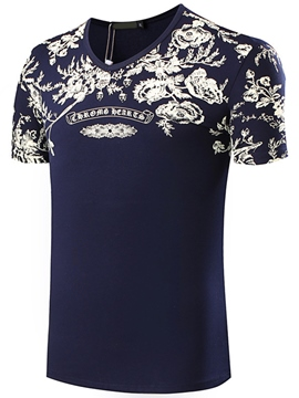 Ericdress Floral V-Neck Casual Men's T-Shirt