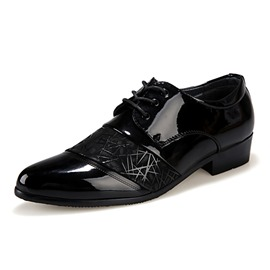 Ericdress Patent Leather Patchwork Point Toe Lace up Men's Oxfords