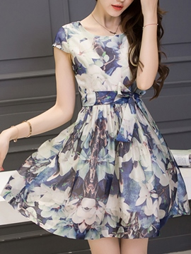 Ericdress Ladylike Floral Print Skater Casual Dress