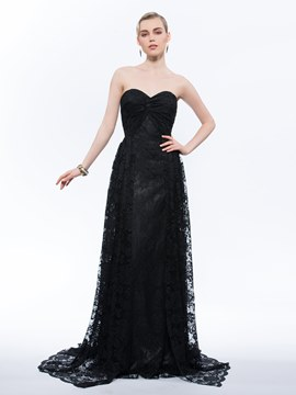 Ericdress A-Line Sweetheart Lace Ruched Sweep Train Evening Dress