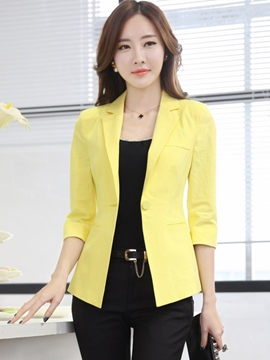 Ericdress Solid Color One-Button Slim Blazer
