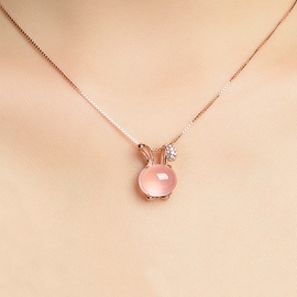 Ericdress Pink Crystal Rabbit Pendant Necklace