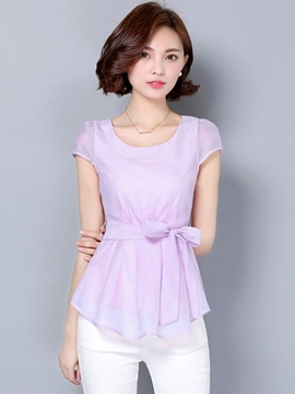 Ericdress Solid Color Bowknot Slim Blouse