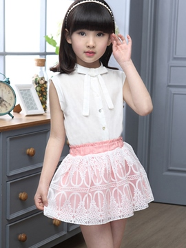 Ericdress Bow Tie Lace Patcehwork Hollow Girls Outfits
