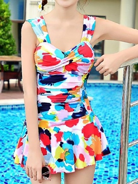 Ericdress Pleated Print Swimwear